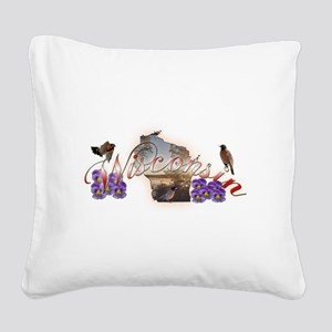 Wisconsin Square Canvas Pillow