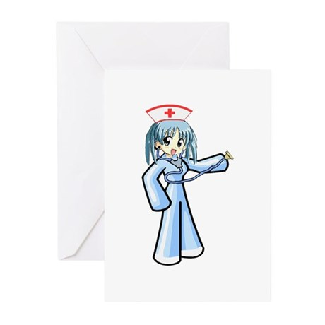 Anime Nurse with Stethoscope Greeting Cards (Pk of