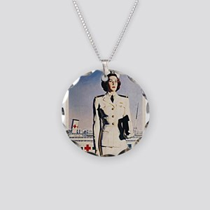 Navy Nurse Necklace Circle Charm