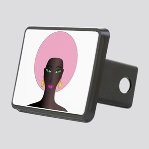 Woman with Pink Afro Rectangular Hitch Cover