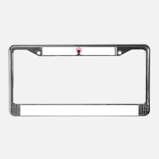 Woman with Pink Afro License Plate Frame