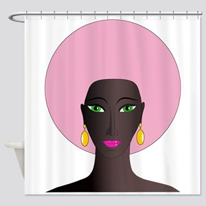 Woman with Pink Afro Shower Curtain