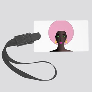 Woman with Pink Afro Large Luggage Tag