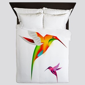 Hummingbirds_colibri_Transp_12b17 Queen Duvet