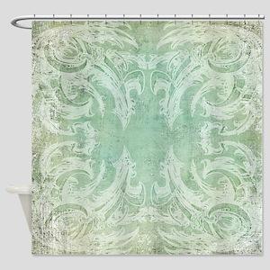 Victorian Vintage Shower Curtain (dino/biomech)