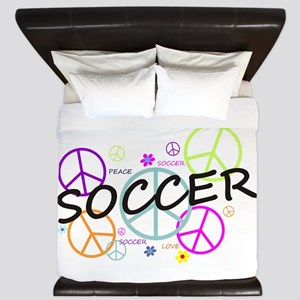 Colored Peace Signs Soccer King Duvet