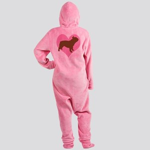 french bulldog pink heart Footed Pajamas
