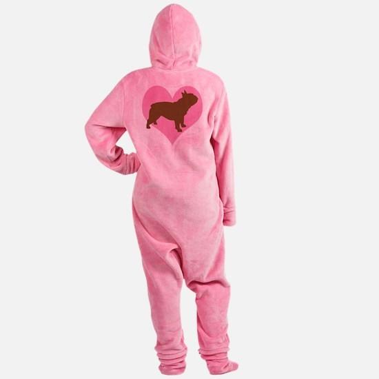 french bulldog pink heart.png Footed Pajamas