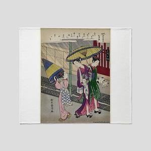 Rain In May - Harunobu Suzuki - 1770 Throw Blanket
