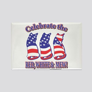 Patriotic Cats Rectangle Magnet (10 pack)