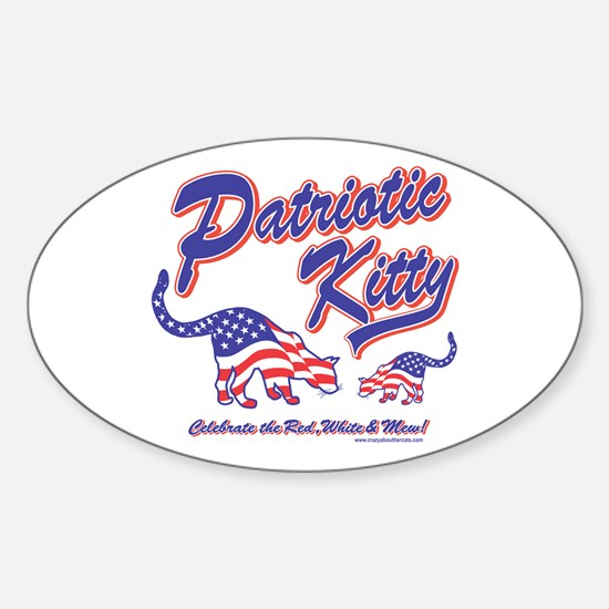 Patriotic Cats Oval Decal
