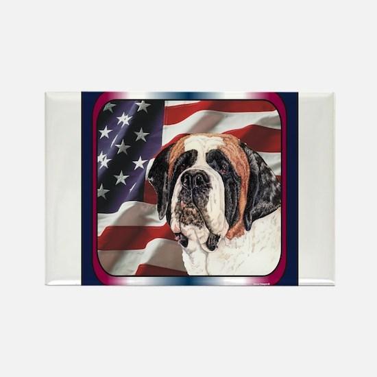 Saint Bernard US Flag Rectangle Magnet