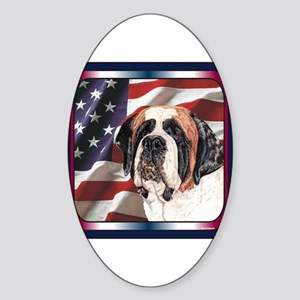 Saint Bernard US Flag Oval Sticker