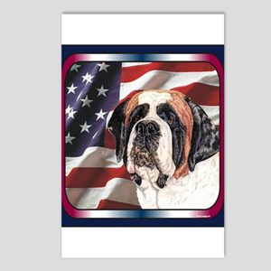 Saint Bernard US Flag Postcards (Package of 8)