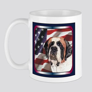 Saint Bernard US Flag Mug