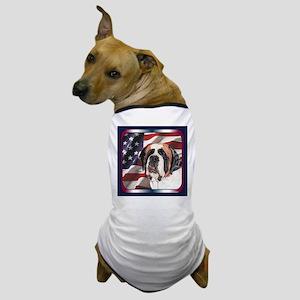 Saint Bernard US Flag Dog T-Shirt