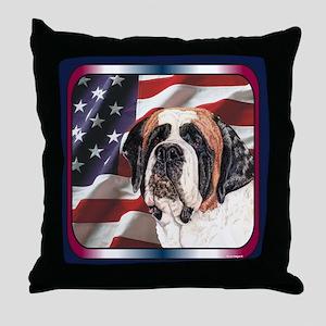 Saint Bernard US Flag Throw Pillow