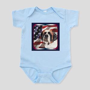 Saint Bernard US Flag Infant Creeper