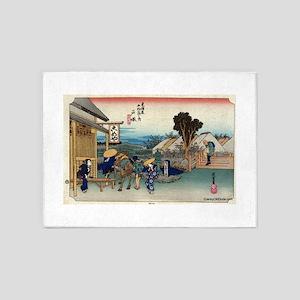 Totsuka - Hiroshige Ando - 1833 5'x7'Area Rug