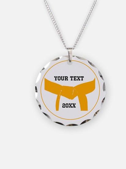 Custom Martial Arts Orange Belt Necklace Charm
