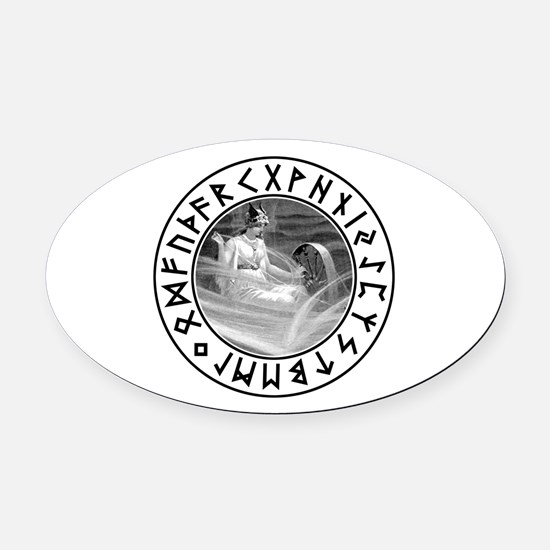 Frigg Rune Shield Oval Car Magnet