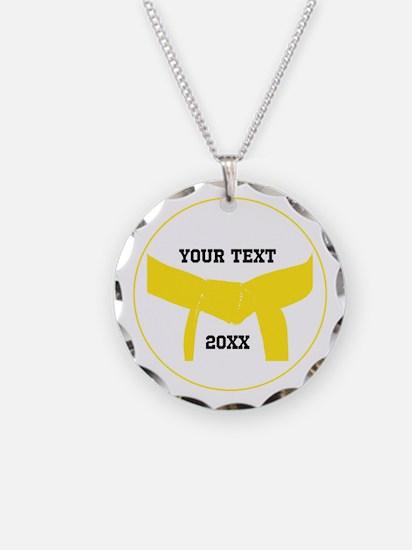 Custom Martial Arts Yellow Belt Necklace Charm