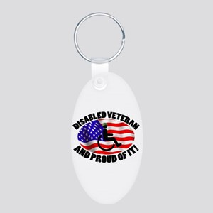 Proud Disabled Veteran Aluminum Oval Keychain