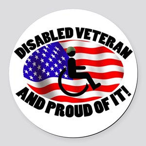 Proud Disabled Veteran Round Car Magnet
