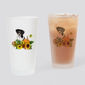 Fall Flowers Puppy Drinking Glass