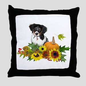 Fall Flowers Puppy Throw Pillow