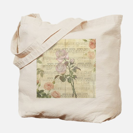Vintage Romantic pink rose and music score Tote Ba