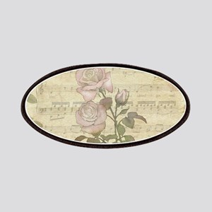 Vintage Romantic pink rose and music score Patches