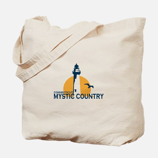 Mystic CT - Lighthouse Design. Tote Bag