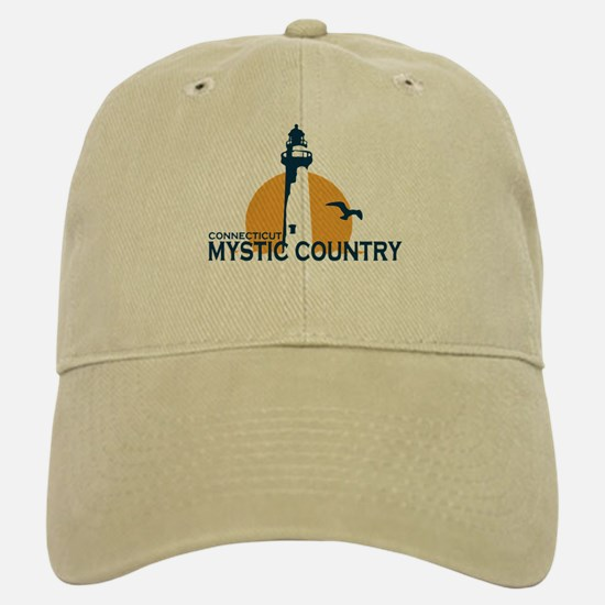 Mystic CT - Lighthouse Design. Baseball Baseball Cap