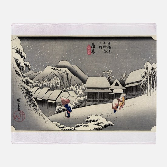Kanbara - Hiroshige Ando - 1833 - woodcut Throw Bl
