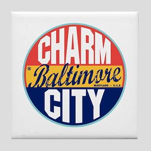 Baltimore Vintage Label Tile Coaster