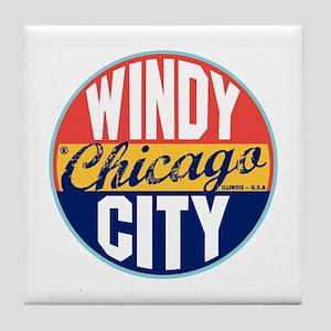 Chicago Vintage Label Tile Coaster