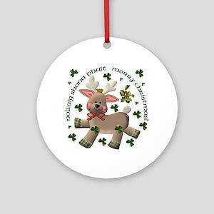 Irish/English Reindeer Ornament (Round)