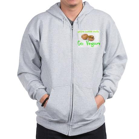Go Vegan grow some nuts 1 Zip Hoodie