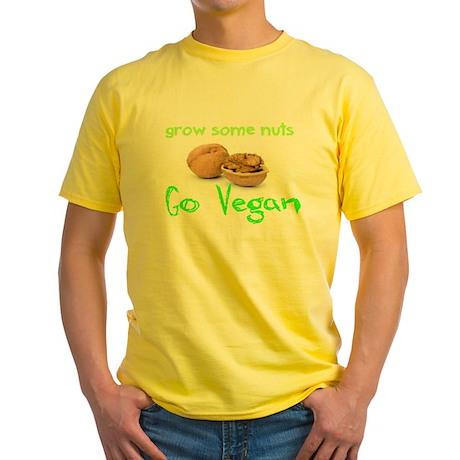 Go Vegan grow some nuts 1 Yellow T-Shirt