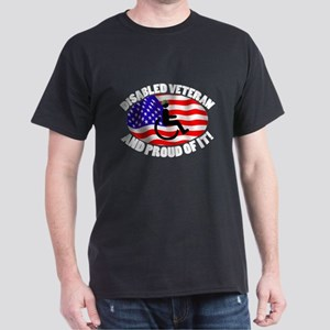 Proud Disabled Veteran WHT Dark T-Shirt