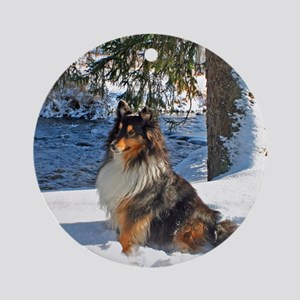 Snow Sheltie Ornament (Round)