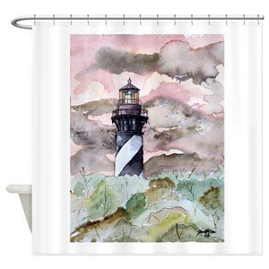 Black And White Lighthouse Shower Curtains