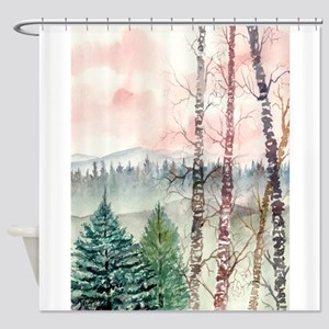 birch_tree_painting_large Shower Curtain