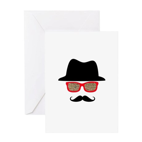 Hat Mustache Glasses Greeting Card