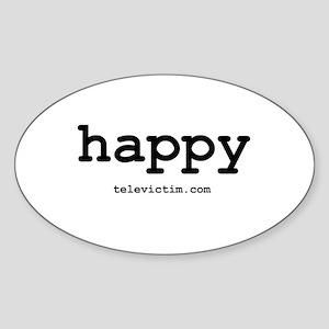 """happy"" Oval Sticker"