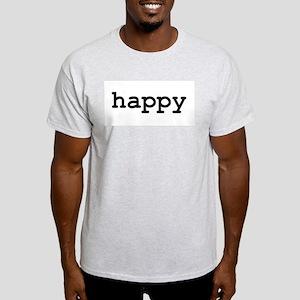 """happy"" Ash Grey T-Shirt"