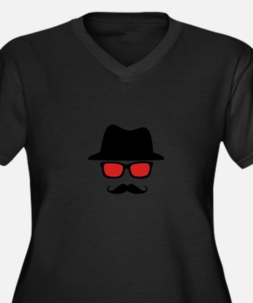 Hat Red Glasses Mustache Women's Plus Size V-Neck