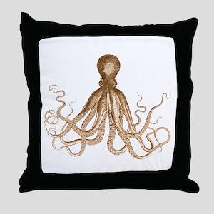 Brown Octopus Throw Pillow