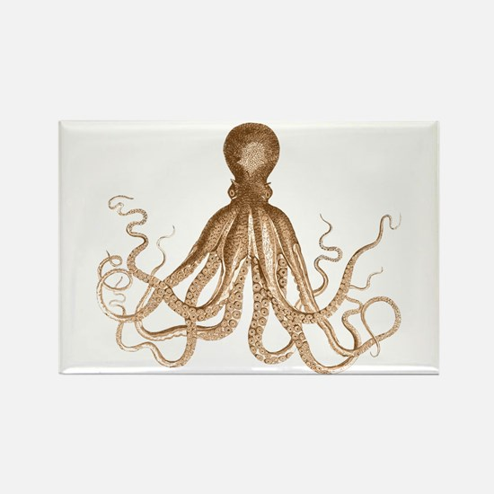 Brown Octopus Rectangle Magnet